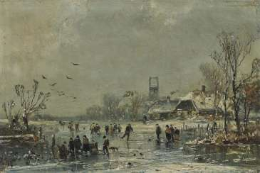 Adolf Stademann - Winter Landscape with Ice Skaters