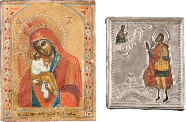 TWO SMALL-SIZED ICONS: JOHN THE WARRIOR WITH OKLAD MOTHER OF GOD AND OF 'POTSCHAEWSKAJA'