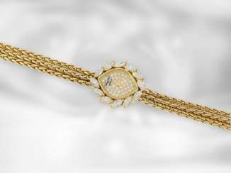 Watch: a very decorative and formerly very expensive vintage Chopard luxury jewelry watch with diamonds, total approx. 1,95 ct, 18K yellow gold