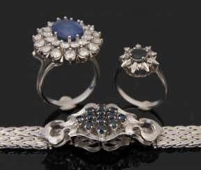 MIXED LOT OF RINGS AND A BRACELET WITH SAPPHIRES