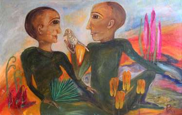 Bird. Sweetly sings the Nightingale at the dawn of our youth. 1995. Cardboard, oil, acrylic. 50 x 79