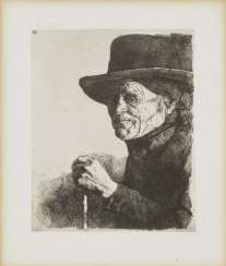 Portrait of the painter Sperl - old farmer with stick , Leibl Wilhelm 1844 Cologne - 1900 Würzburg