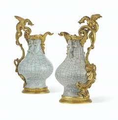 A PAIR OF ORMOLU-MOUNTED CHINESE CRACKLE-GLAZED CELADON PORC...