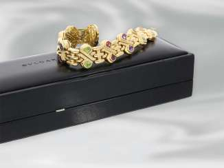 Bracelet: heavy, very decorative vintage Designer bracelet with color Italian handmade 18K Gold stones, signed Bvlgari,