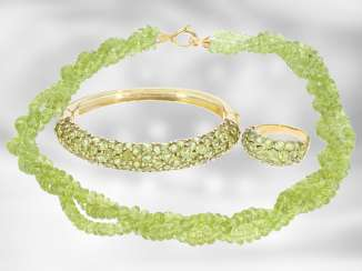 Chain/necklace/bracelet/Ring: very decorative vintage Peridot jewelry set, 18K and 14K Gold