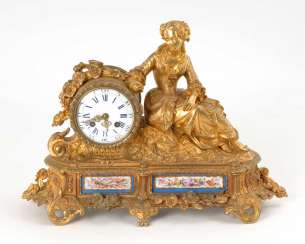 Figures clock with porcelain plaques.