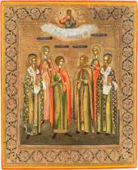 A SMALL ICON WITH SIX FAMILY SAINTS