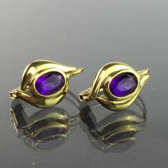 Elegant earrings: Yellow Gold 333 with Amethyst, very good.