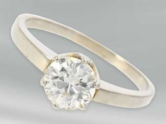 Ring: high-quality vintage solitaire ring with old European cut diamond, approx 1ct, 14K white gold
