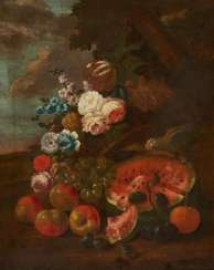 Still life with watermelon and parrot