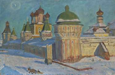 BRAGOVSKY, EDUARD (1923-2010) Kremlin in the Town of Borisoglebsk , signed, titled in Cyrillic and dated 1965 on the reverse, also further signed and titled on the stretcher.