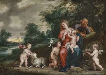 The Holy Family with the boy John and angels