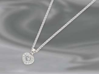Necklace/Collier: high-quality, unworn 18K gold chain, Chopard White with heart pendant