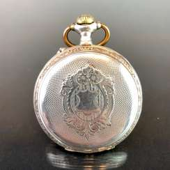 Mens Pocket Watch: Silver. Fine art Nouveau 1900 engraved.