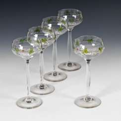 5 wine glasses with enamel painting, TERESA