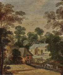 Flemish - summer village landscape with figures, 17th century