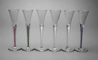 Six liqueur glasses with shell bowl rods