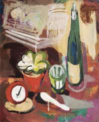 Still life with bottle and alarm clock