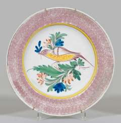 Large plate with bird decor