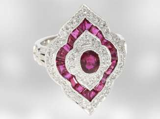 Ring: decorative crafted vintage diamond/ruby gold forged ring, crafted from 18K white gold, gorgeous vintage work of court jeweller and Roesner