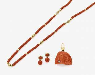 Chain, pendant and a Pair of drop earrings with coral and diamonds