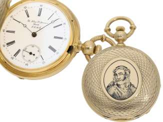 Pocket watch: unique and extremely rare gold savonnette with automatic winding and double-sided enamel decoration, B. Haas, watchmaker to the court of Napoleon III,