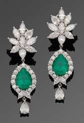 Pair of magnificent emerald and diamond drop earrings