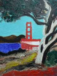San Francisco Original oil painting Finger painting 2019 Home wall decor Canvas Art. New. Without frame. 24x18cm