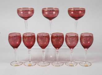 Six wine glasses and three champagne bowls