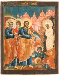 A BIG ICON WITH THE RAISING OF LAZARUS FROM A CHURCH ICONOSTASIS