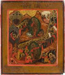 ICON WITH THE RESURRECTION AND DESCENT INTO HELL OF CHRIST Russia