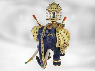 Jewel/art object: important antique art, elephant with extremely valuable Precious stones, one of a kind, former Maharadja-owned, India 1. Half of the 20. Century., Probate Court Jeweller Roesner