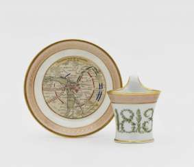 Cup with saucer in memory of the Battle of the Nations near Leipzig in 1813