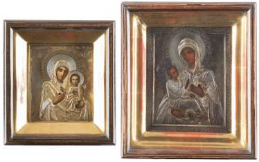 TWO ICONS WITH VERMEIL-OKLAD IN THE ICON CASE: THE MOTHER OF GOD 'SMOLENSKAYA' MOTHER OF GOD 'CHOLMSKAJA'