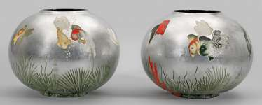 Pair of large spherical vases with fish decoration in the style of Jean Dunand