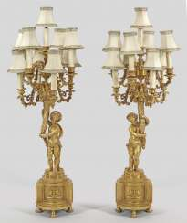 Pair of large Napoleon III girandoles lamps