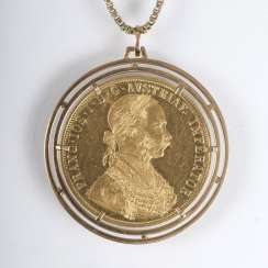 Four-Ducat-gold coin with portrait of the Austrian Emperor Franz Joseph I as a pendant with chain