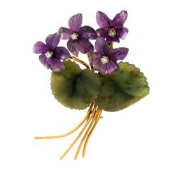 """Violet bouquet"" brooch made of amethyst and jade"
