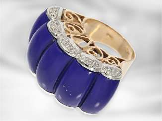 Ring: new Italian design ring, in the style of Art Deco with a large blue stone and diamonds, 14K rose gold