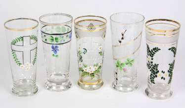 5 art Nouveau style glasses around 1910