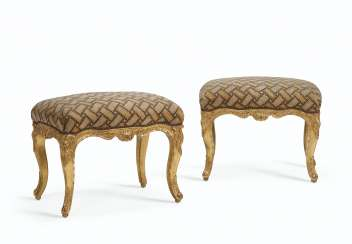 A PAIR OF LOUIS XV GILTWOOD TABOURETS