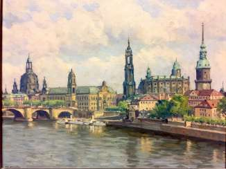 Paul Poor: a Historical view of Dresden / Canaletto-view of Dresden with the Frauenkirche, the house man tower, Hofkirche.
