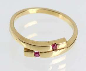 Rubellite ring in yellow gold 375