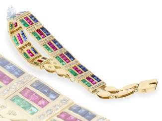 Bracelet: intricately designed, very high-quality gold production with rubies, sapphires, emeralds and diamonds, 18K Gold forging