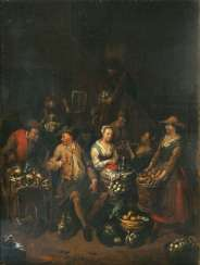 Pair of counterparts: the kitchen scenes with the delivery of vegetables. Jan Baptist Lambrechts