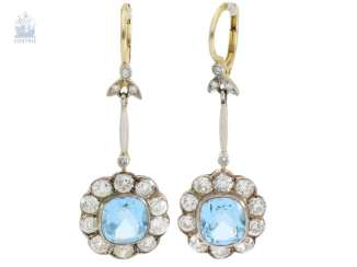 Earrings: rare, very decorative and antique Topaz/diamond flower earrings, about 7.8 ct, probably around 1910