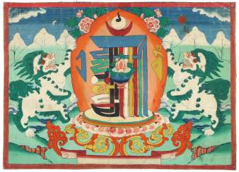 Thangka with snow lions