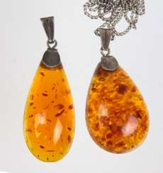 2 amber pendant with chain