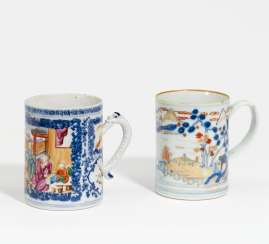 Two handle mug with figures and landscape