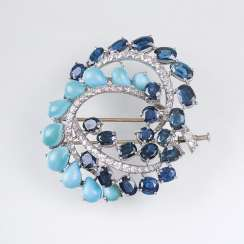 Vintage brooch with turquoise and sapphire and diamond trim